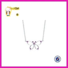 Wholesale animal butterfly silver necklace classic purple gemstone jewelry for party