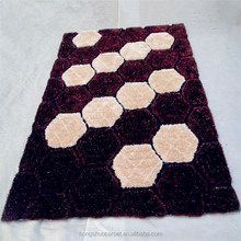 modern design shaggy silk polyester material carpets and rugs