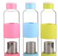candy color sports glass water bottle wholesale with tea infuser