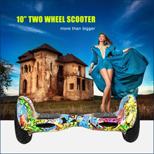 Xmas gift retro electric scooter 10 inch graffiti scooter 2 wheel hover board with bluetooth and remote control