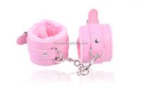 Four Colors Available PU Leather Plush Handcuffs for Women Bondage Sex Toys Adjustable Ankle Cuffs for Man Bondage Wrist Cuffs