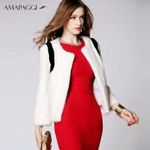Natural Short white mink coat with black mink fur jacket