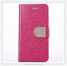 Mobile Phone Bags Glitter Back Case Cover Shiny Bling Rhinestone Shell flip PU leather case for iPhone6