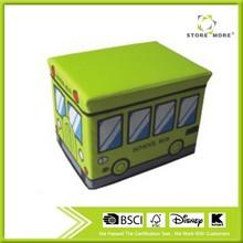 [School Bus - Green] Rectangle Foldable Faux Leather Storage Ottoman / Storage Boxes / Storage Seat