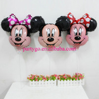 New design 50*44 cm mickey&minnie mouse balloon with stick and cup for kids gifts aluminium foil helium balloons,classic toys