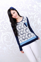 Flower ladies fancy long sleeve Winter woman shirt with a pocket