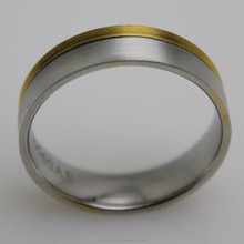 Stainless Steel Bicolor Mens Ring Curve Lines elegant costume jewelry