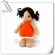 Dressed Stuffed Knited Doll Crocheted Girl Doll