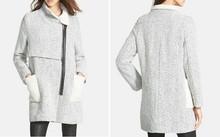 2015 OEM custom made design high quality women winter wool blend tweed coats