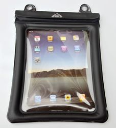 """Black TPU Waterproof Dry Case Zippler Bag Pouch for iPad 10"""" Tablet With Lanyard"""