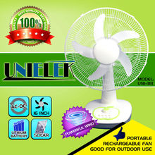 16 inch table portable rechargeable fan five blades tested solar power 12v dc fan
