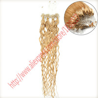 """cheap Wholesale 20"""" 50g/pc 100s/lot Micro links Loop Ring Hair Silicone Hair Extensions Beads Malaysian deep wave mira Curly Ha"""