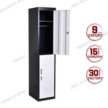 Double color metal 2 door wardrobe / locker with mirror