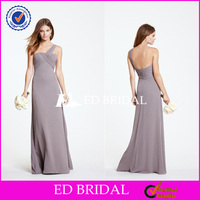 B1056Gray One Shoulder Ruched Long Chiffon Full Length Maid Of Honor Wedding Dresses