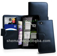Navy Blue Wallet Leather Case Cover for BlackBerry Z3