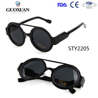 YWGX FDA CE UV400 Certification Restore Ancient double bridge retro round frame sunglasses