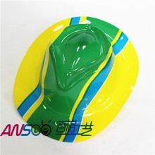 Cheap plastic party gangster hat of Brazil flag