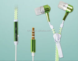 High Quality Fashionable Zipper Earphone With Mic for IPhone Samsung HTC