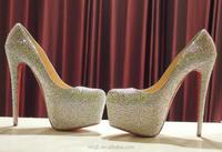 120mm crystal silver Diamonds Rhinestone Strass Platform Pump Heel high heels sexy party evening bridal wedding shoes