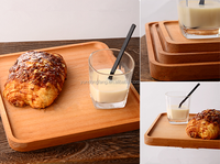 European cheap solid wood rectangle three sizes bread tray cake plate