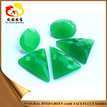 Natural Imitation Triangle Checker Dyed Green Nephrite Jade Jewellery Stones
