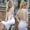 DL-378 2015 Backless lace long sleeve short wedding dresses sexy Beach Wedding Dresses sexy mini wedding dress