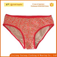 top selling orange allover print cotton young girl sexy underwear