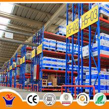 blue industrial sliding expanded metal shelf