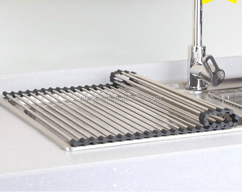 Kitchen Foldable Stainless Steel Silicone Sink Roll Up