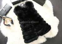Fashionable ladies long waistcoat black fox fur vest for women