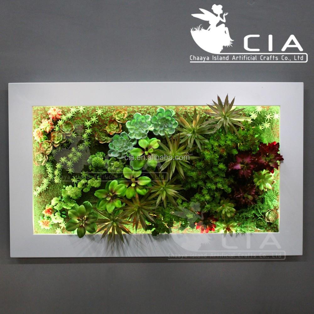 Vertical wall decor artificial plants arrangement mixed for Jardin vertical artificial