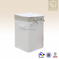 Practical white Square Flax lining folding bamboo container for used clothing