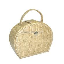 2015 Portable Beige Crocodile Leather Pu Wrapped Cardboard Jewellery Case