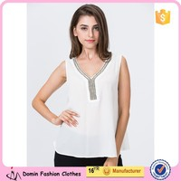 2015 Latest Beaded Neckline Design Fashion Ladies Tops and Blouse