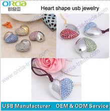 custom logo heart shape wedding gift jewelry usb flash 2.0