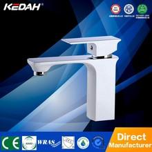 New cheap upc square white paint brass bathrooom basin faucet