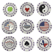 Purple color plastic poker chip golf ball marker for golf club