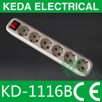 Europe style 6 way extension power socket with grounding and switch