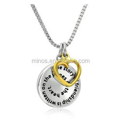 Stainless Steel The Story of Friendship Disc and Heart Pendant Necklace