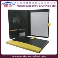 With Calculator&Emboss Logo Men A4 Faux PU Leather Folder Organizer