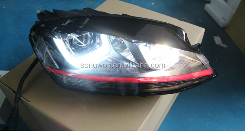 Vw Golf 7 Gti Xenon Headlight With Angel Eye For Mk7 Head