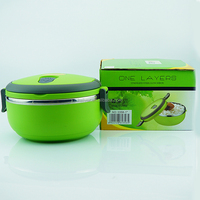 Hot selling good quality green plastic and stainless steel portable lunch box bento children thermal containers