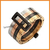 2015 New hot selling fashion movable stainless steel men rings jewelry rings