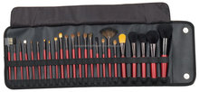 24pcs makeup brush set with classic PU bag,make up brush set ,makeup brushes set red handle
