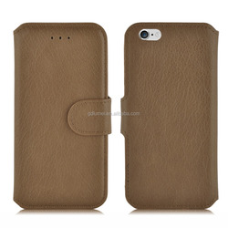 Wholesale premium wallet flip folio PU leather case with lychee grain for iPhone 6 or 6 plus