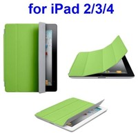 Offcial Ultrathin Four Folio Leather Smart Cover for iPad 2 / The New iPad / iPad 4 with Dormancy Function