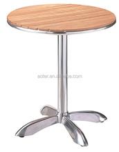 Comercio asuurance aluminio mesa de madera para oudoor ocio