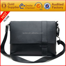 New Men Genuine Soft Nappa leather Black Shoulder Bag Messenger Bag School bag