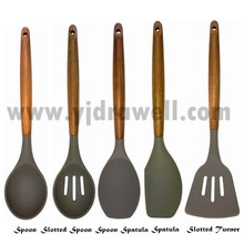 SP-1545 New product Wooden Handle silicone kitchen tool set