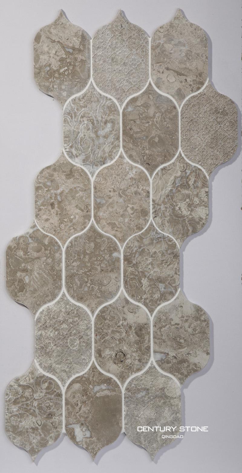 2015 water- jet koningin grijs marmer mozaïeken design badkamer ...